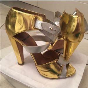 Pierre Hardy Metallic Gold/Silver Strappy Heels